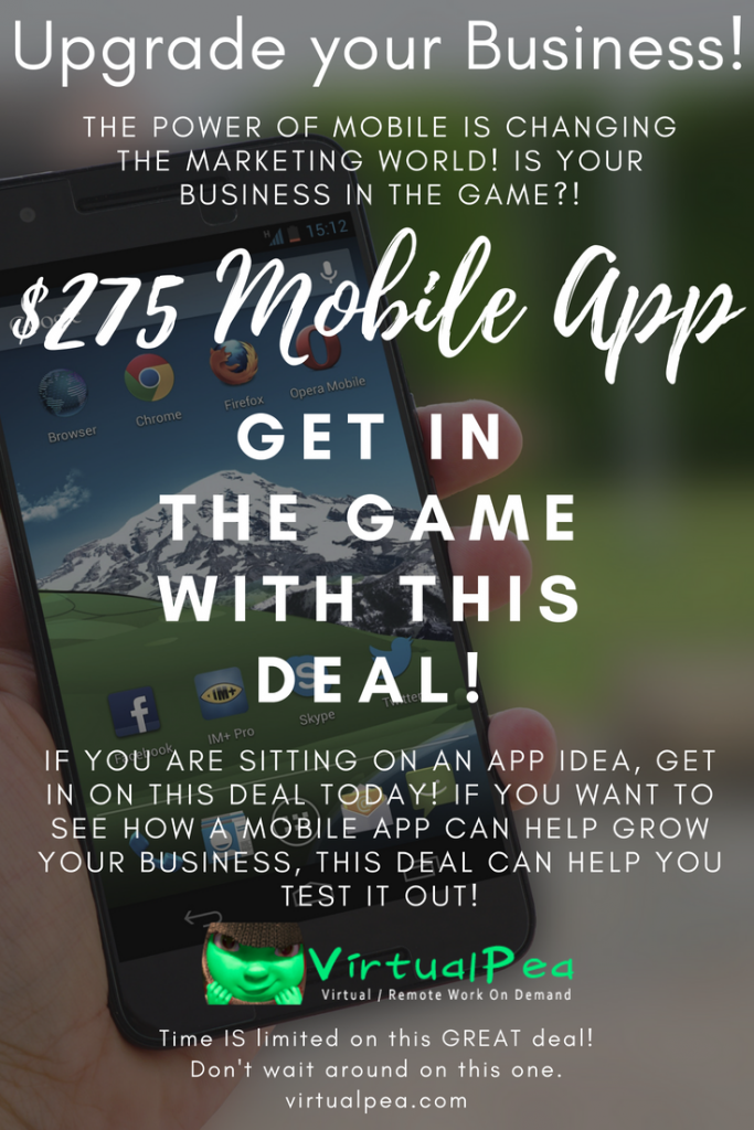If you are sitting on an app idea, get in on this deal today! If you want to see how a mobile app can help grow your business, this deal can help you test it out!